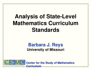 Analysis of State-Level Mathematics Curriculum Standards