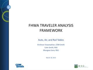 FHWA Traveler ANALYSIS FRAMEWORK