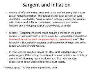 Sargent  and Inflation
