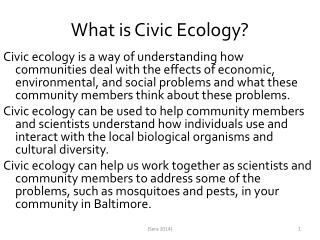 What is Civic Ecology?
