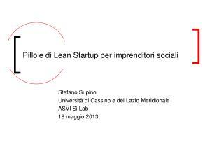 Pillole di Lean Startup per imprenditori sociali
