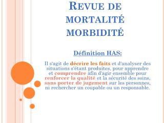 Revue de mortalité morbidité