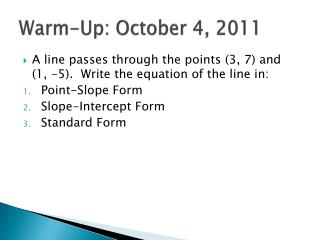 Warm-Up: October 4, 2011