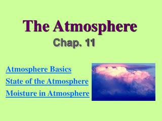 Chapter 11 - The Atmosphere