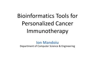 Bioinformatics Tools for Personalized Cancer Immunotherapy