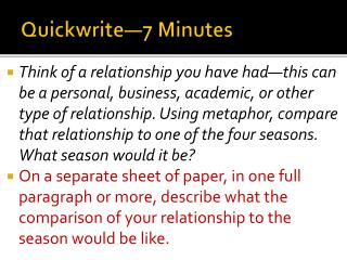 Quickwrite—7 Minutes
