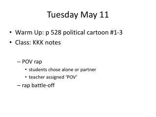 Tuesday May 11