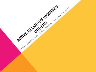 Active Religious Women's Orders