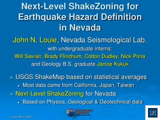Next-Level ShakeZoning for Earthquake Hazard Definition in Nevada