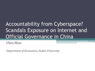 Accountability from Cyberspace? Scandals Exposure on Internet and Official Governance in China