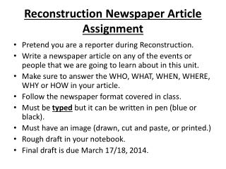 Reconstruction Newspaper Article  Assignment