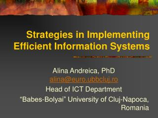 Strategies in Implementing Efficient Information Systems