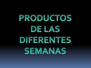 PRODUCTOS  DE LAS DIFERENTES SEMANAS
