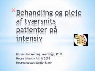 Behandling og pleje af tværsnits patienter på intensiv