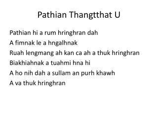 Pathian Thangtthat  U