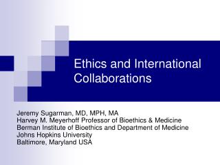 Ethics and International Collaborations