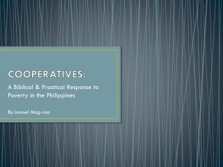COOPERATIVES: