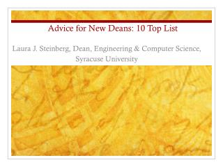 Advice for New Deans: 10 Top List