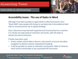 Accessibility issues - The use of Styles in Word
