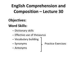 English Comprehension and Composition – Lecture 30