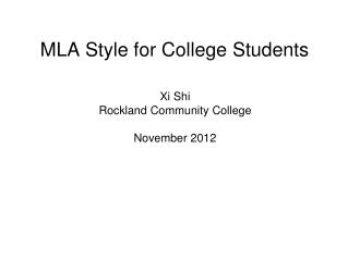 MLA Style for College Students