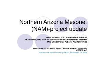 Northern Arizona Mesonet NAM-project update