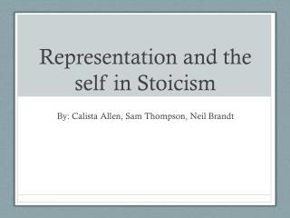 Representation and the self in Stoicism