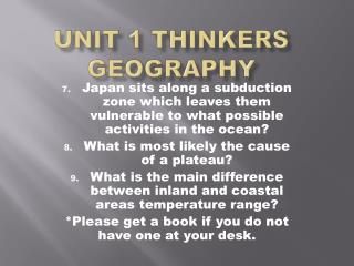 Unit 1 Thinkers Geography
