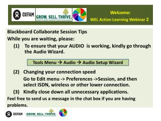 Welcome: WEL Action Learning Webinar  2