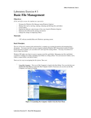 Laboratory Exercise # 3 – Basic File Management