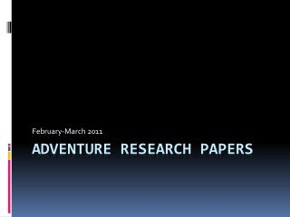 AdVENTURE Research Papers