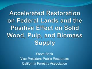 Steve Brink Vice President-Public Resources California Forestry Association