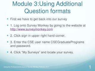 Module 3:Using Additional Question formats