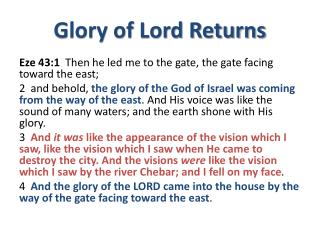 Glory of Lord Returns