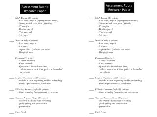 Assessment Rubric Research Paper