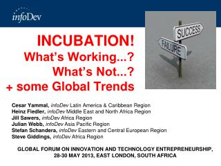 INCUBATION! What's Working...? What's Not...?  + some Global Trends