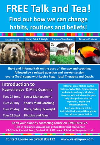 Introduction to   Hypnotherapy  & Mind Coaching Tues 24 June     Stress Management
