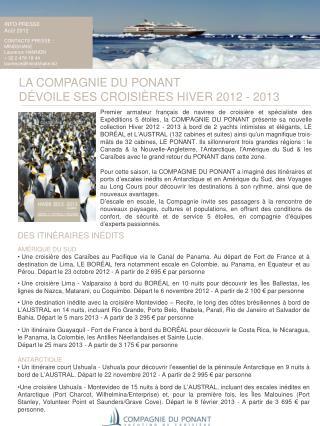LA COMPAGNIE DU PONANT  DÉVOILE SES CROISIÈRES HIVER 2012 - 2013
