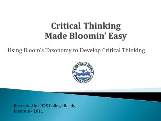 Critical Thinking  Made  Bloomin � Easy
