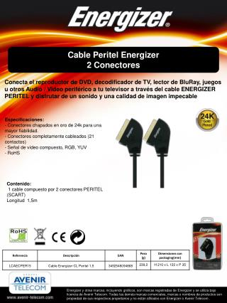 Cable Peritel Energizer 2  C onectores