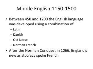 Middle English 1150-1500