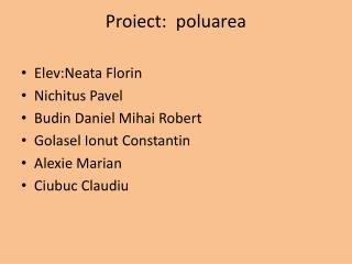 Proiect : poluarea
