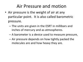 Air Pressure and motion