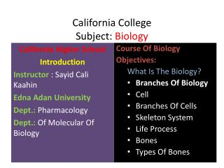 California College Subject:  Biology