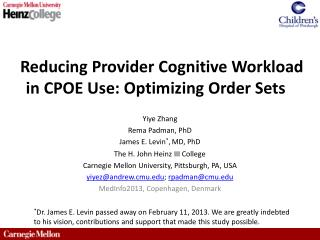 Reducing Provider Cognitive Workload in CPOE Use: Optimizing Order Sets