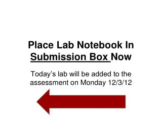 Place Lab Notebook In  Submission Box  Now