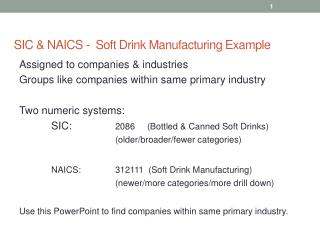 SIC & NAICS -  Soft Drink Manufacturing Example