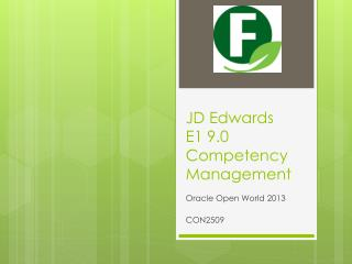 JD Edwards E1 9.0 Competency Management