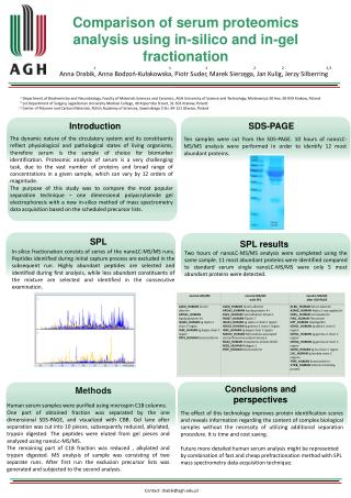 Co mparison  of serum proteomics analysis using in-silico and in-gel fractionation