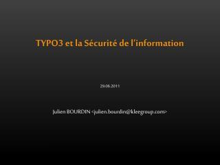 TYPO3 et la Sécurité de l'information